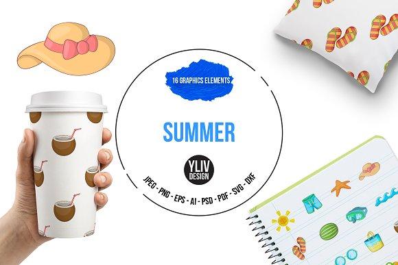 Summer Items Icons Set Cartoon