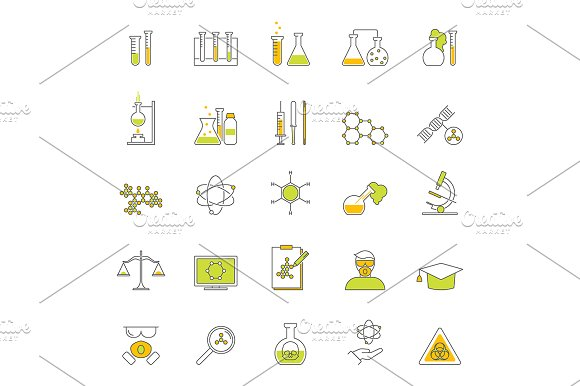 Chemical Thin Line Set Vector