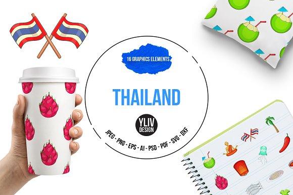 Thailand Symbols Icons Set Cartoon