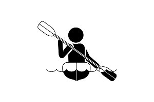 Vector illustration. Rowing icon