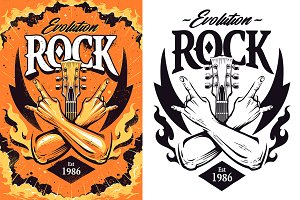 Rock Print Design | Vector Art
