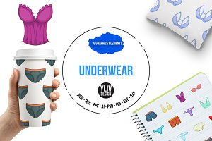 Underwear icons set, cartoon style