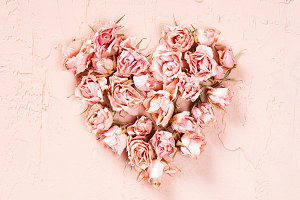 Heart of dry pink roses