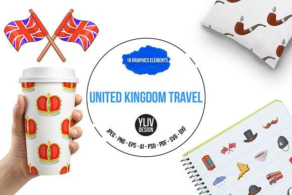 United kingdom travel icons set