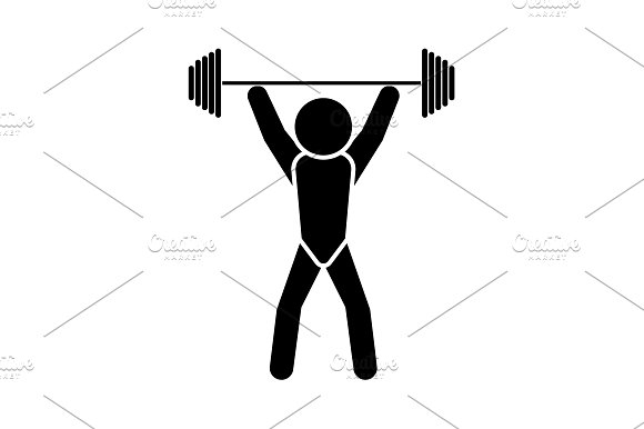 Vector illustration. Weightlifter