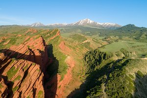 Red Rocks, Coniferous Forest and Mountains on Background. Aerial View
