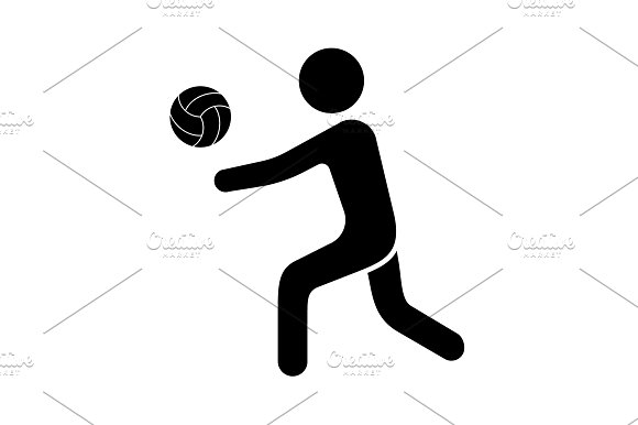 Vector illustration. Volleyball icon in Graphics