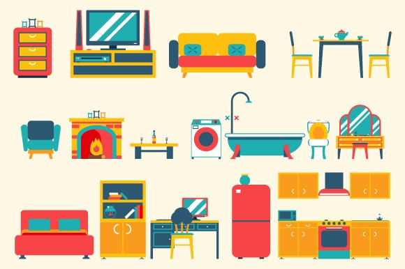 Furniture house interior icons and s icons creative market for Kitchen design vector