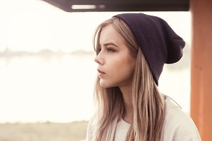 beautiful blonde in hat