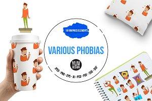 Various phobias icons set, cartoon