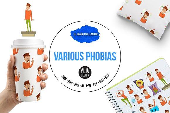 Various Phobias Icons Set Cartoon