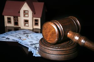 House Auction, Gavel and Property. concept for home ownership, buying, selling or foreclosure.