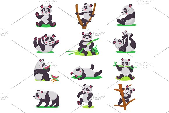 Panda Kid Vector Bearcat Character Or Chinese Bear Child Playing Or Eating Bamboo Illustration Set Of Cartoon Giant Panda Isolated On White Background