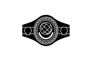 Boxing Belt. Belt Champion.  Black