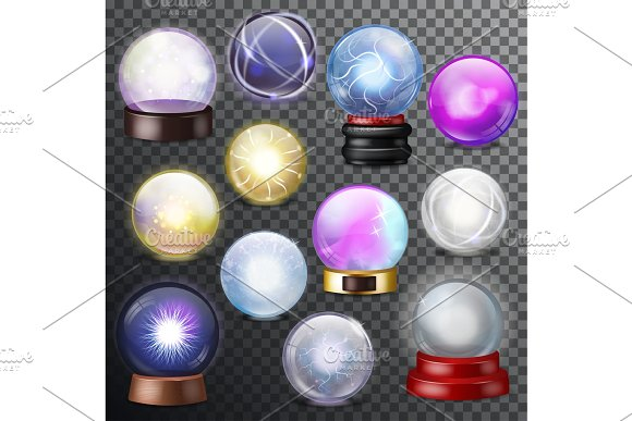 Magic Ball Vector Magical Crystal Glass Sphere And Shiny Lightning Transparent Orb As Prediction Soothsayer Illustration Magnificent Set Isolated On Transparent Background