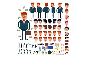 Businessman constructor vector creation of male character business suit with manlike hairstyle head and face emotions illustration set of mans body with hands legs isolated on white background