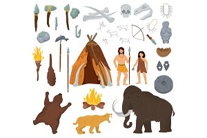 Primitive people vector mammoth and ancient caveman character in stone age cave illustration prehistoric man with stoned weapon and flame set isolated on white background