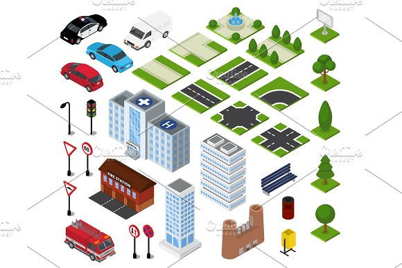 City Isometric Vector Urban Cityscape With Building Architecture Or Construction In Downcity Street Illustration Set Of Transport And Road In Town Isolated On White Background