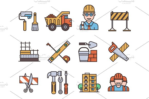 Construction Vector Linear Icons Universal Building Elements And Worker Equipment Flat Industry Tools Illustration