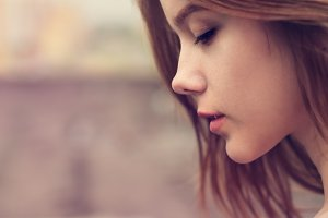 serene portrait of a cute girl