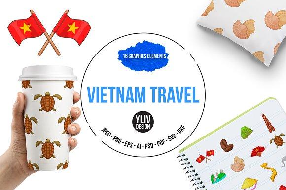 Vietnam Travel Icons Set Cartoon