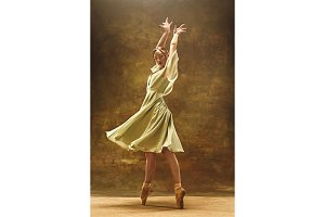 Young ballet dancer - Harmonious pretty woman with tutu posing in studio -