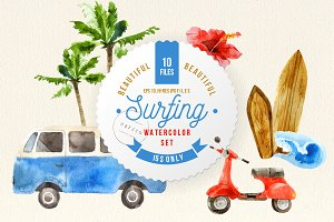 Vintage surfing watercolor set