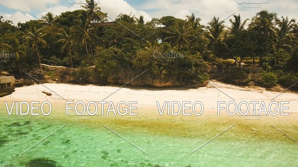 Aerial View Beautiful Beach On A Tropical Island Philippines Anda Area