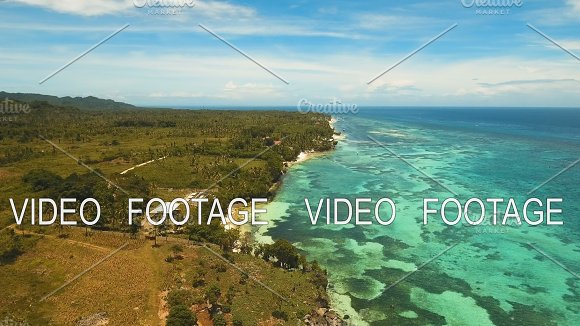 Seascape With Tropical Island Beach Resort Hotels Bohol Anda Area Philippines