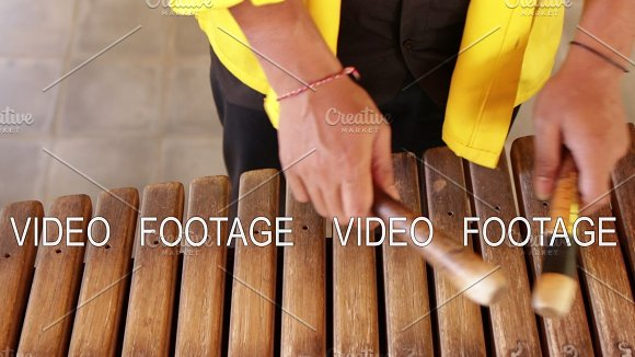 Asian Indonesian Balinese Musician Gamelan Instrument Closeup Hands Playing Not Edited Raw File