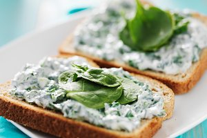 creamy spinach spread on toast