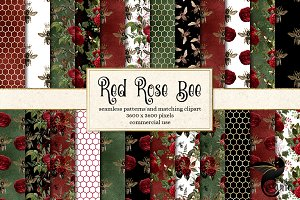 Red Rose Bee Digital Paper