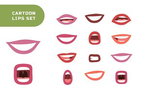 Cartoon lips and seamless patterns