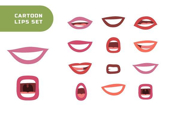 Cartoon Lips And Seamless Patterns
