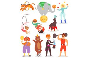 Circus people vector acrobat and clown with trained animals characters in circus-tent illustration set of magician and circusman with elephant or bear isolated on white background