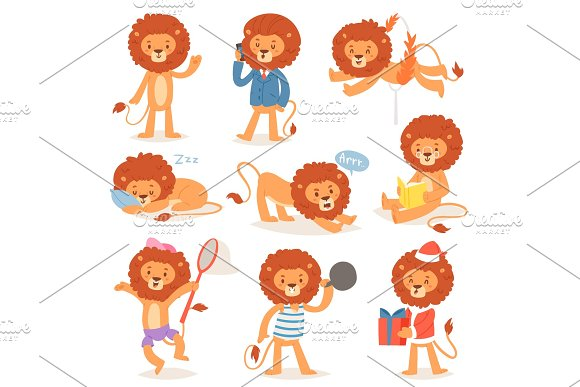 Cartoon Lion Vector Kids Leo Character Of Wild Child Animal Playing Reading Or Sleeping Illustration Set Animalistic Businessman Or Santa Lions Isolated On White Background