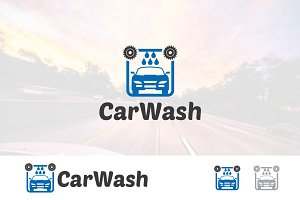 Auto Car Wash Clean Logo