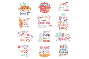 Cook sign vector cooking or bakery lettering and cookery or baking typography template to print illustration set of text with kitchenware isolated on white background