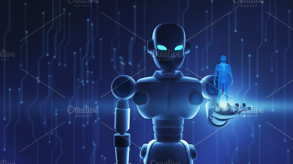 Robot Holding Human In Virtual Display Artificial Intelligence In Futuristic Technology Concept 3D Illustration