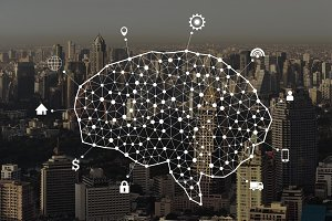 Human brain and infographic template and connection lines on city background in the form of artificial intelligence for technology concept, 3d illustration