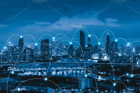 Smart City And Connection Lines Internet Concept Of Global Business Bangkok Thailand