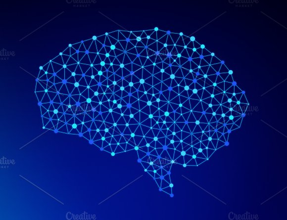 Human Brain On Blue Background In The Form Of Artificial Intelligence For Technology Concept 3D Illustration