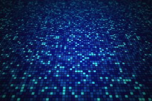 Blue mosaic tile pattern background in technology concept. 3d illustration.