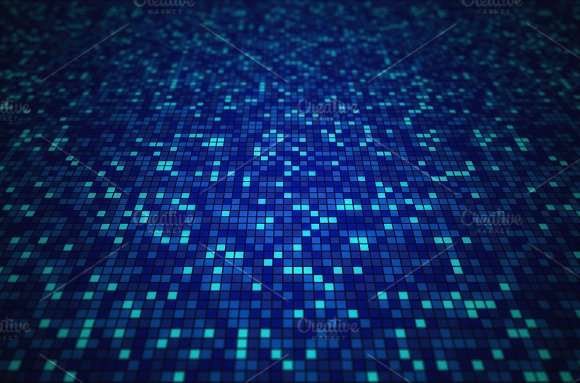 Blue Mosaic Tile Pattern Background In Technology Concept 3D Illustration