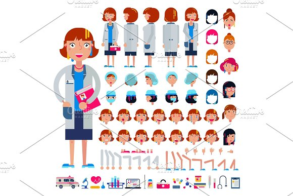 Doctor Constructor Vector Construction Of Female Medical Character Head And Face Emotions Illustration Set Of Hospital Person Body With Hands Legs Creation Isolated On White Background