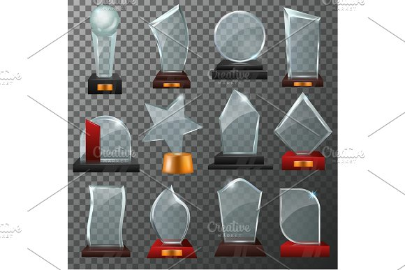 Glass Award Vector Crystal Trophy Or Award-winning Prize For Achievement Illustration Set Of Winner Shiny Reward Template Or Blank Isolated On Transparent Background
