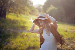 Cute charming girl in summer