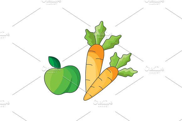 Illustration Apple And Carrot