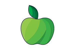 vector illustration. Green Apple