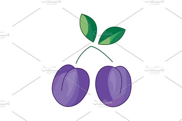 Color Vector Illustration Plum Icon